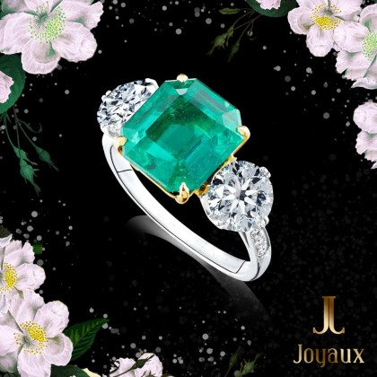 Emerald 2.85ct. and Diamond Ring