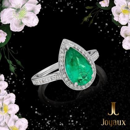 Emerald 1.41ct. and Diamond Ring