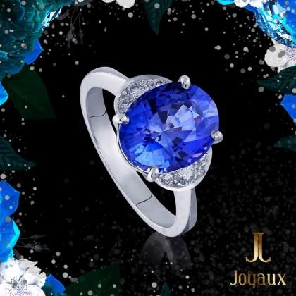 Tanzantie 4,45ct. and Diamond Ring