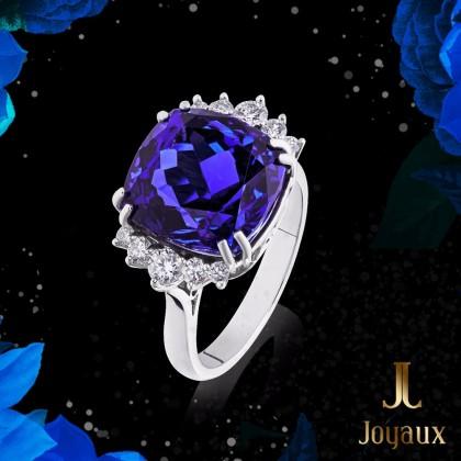 Tanzantie 13,73ct. and Diamond Ring