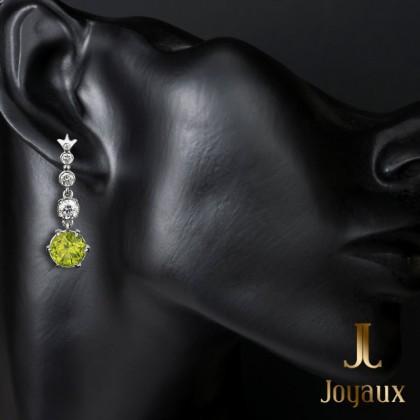 Olivine diamond dangle earrings