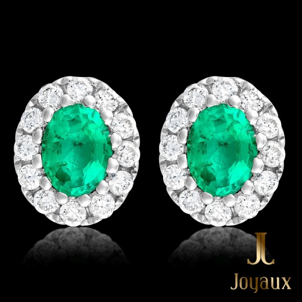 Emerald 1,2cttw. and Diamond Cluster Earrings