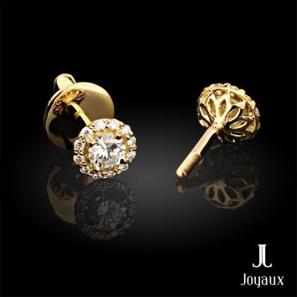 0.46 Carat G-VS1 Round Diamond Pavé Halo Stud Earrings