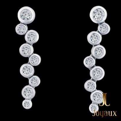 Diamond Drop Earrings in 14K White Gold