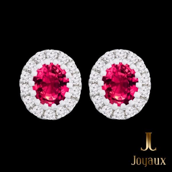 0.42 Carat G-VS1 Round Diamond and Ruby Pavé Halo Stud Earrings 14K White Gold