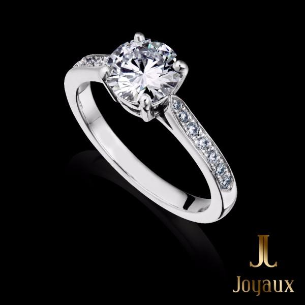 3/4 CT. Diamond Engagement Ring With Diamond Set Shoulders