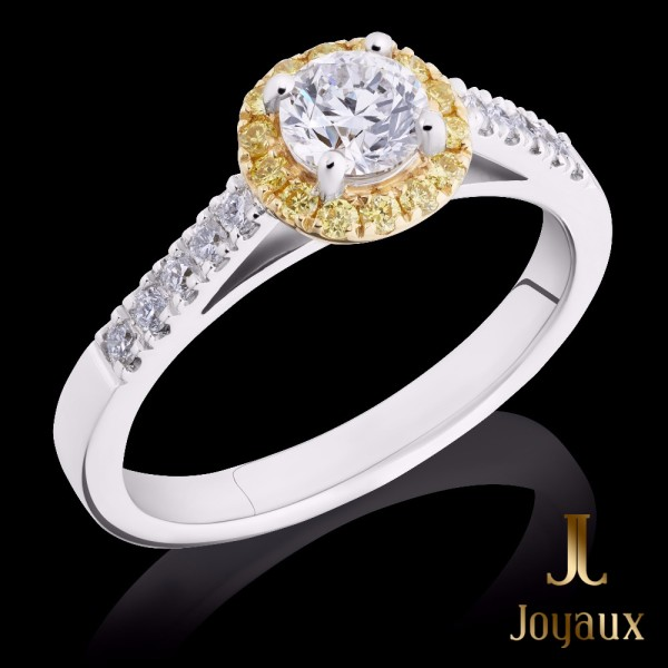 1/3 CT. Diamond Engagement Ring With Yellow Diamond Surround
