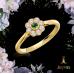 Emerald and Diamond Flower Ring
