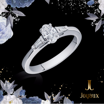 Oval Cut Diamond Ring with baguette shoulders