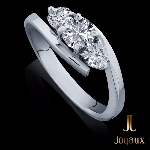 Three Stone Engagement Ring With Cross Over Design