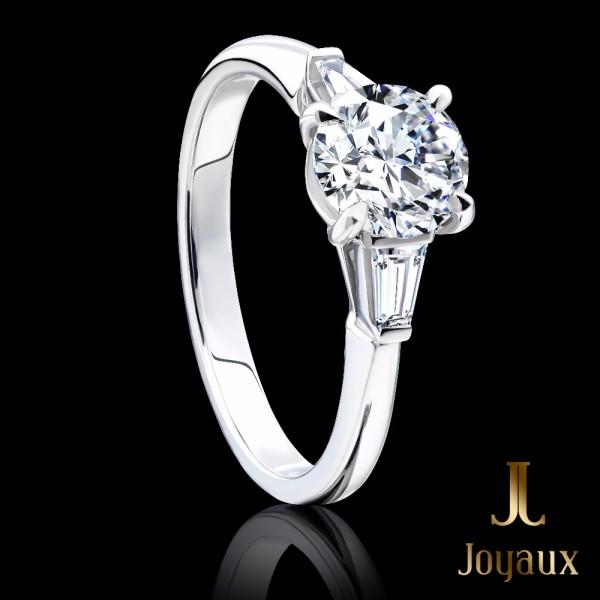 Diamond Engagement Ring With Baguette Cut Shoulders