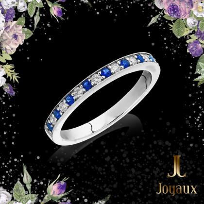 Sapphire and Diamond Half Eternity Ring 0,16cttw.