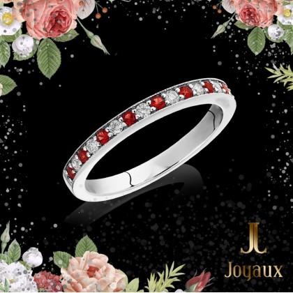 Ruby and diamond Wedding half Eternity Ring