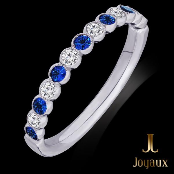 Sapphire and Diamond Half Eternity Ring 0,24cttw.