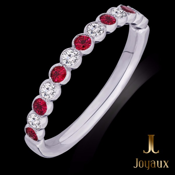 Ruby and diamond Half Eternity Ring 0,22cttw.
