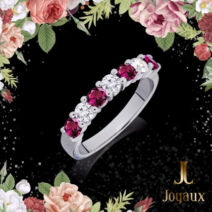 Ruby and diamond Wedding Eternity Ring