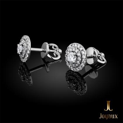 Halo Diamond Earrings in 18k White Gold (0,5 ct.tw.)