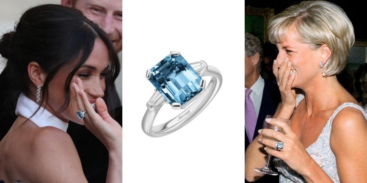 Коктейльное кольцо с аквамарином и бриллиантами леди Ди